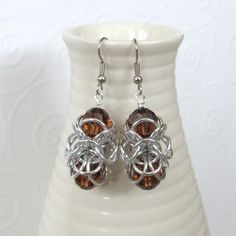 Free Chainmail Patterns Chain Maille | Turkish orbital chain mail earrings with Smoked Topaz crystals $18.00 ...