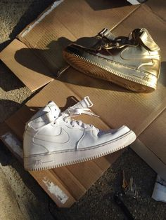 d172aed6252957 Air Force 1 s Gold Sneakers