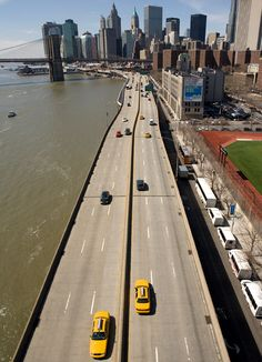 New York City. Road alongside the East River looking south.