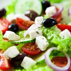 Greek Salad with homemade dressing! So yummy :)