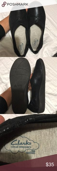 Incredibly light and comfy Clark shoes The absolute lightest most comfortable shoes not to mention adorable sparkly navy blue beauties by Clarks with removable sole. The shoes feel almost like soft velvety. Clarks Shoes Flats & Loafers