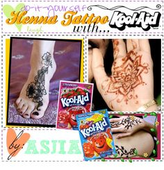 """DiY Henna Tattoo with Kool Aid"" by polyvore-tip-lovies ❤ liked on Polyvore Orange Kool-Aid, a drop of green food color, cup of water.  Seems like too  much water...."