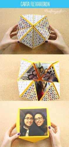 Carta origami flexahedron que puedes voltear y ver por varias caras. Muy sencilla de hacer con mi #TutoCG. Pasión por el origami.