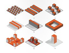 this diagram was made by a + t researchers to show traditional urban massing. I enjoy the visual the diagram offers as it is easy to read and follow. Typology Architecture, Architecture Program, Study Architecture, Architecture Graphics, Architecture Diagrams, Landscape And Urbanism, Landscape Design, Axonometric Drawing, Urban Ideas