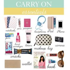 """""""Carry On essentials"""" by zayrand on Polyvore : travel essentials carry on essentials travel bag"""