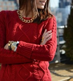 perfect gold necklace - next to a cozy cable-knit sweater