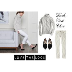 """""""Weekend Chic"""" by bluehydrangea on Polyvore  white bottom, gray top, black shoes"""