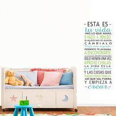 """Docliick® Vinilos decorativos de frases para pared """"Esta es tu vida haz lo que amas... """", para decorar habitaciones (con Regalo de pegatina bebe a bordo coche), reutilizable, no deja residuos.DC-16045"""