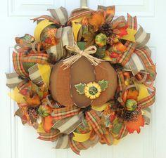 Fall Door Wreath, Fall Burlap Wreath, Pumpkin Wreath, Fall Mesh Wreath, Orange Wreath, Fall Wreath, Autumn Wreath, Yellow Wreath, Colorful...for $90.00 by Kayla's Kreations