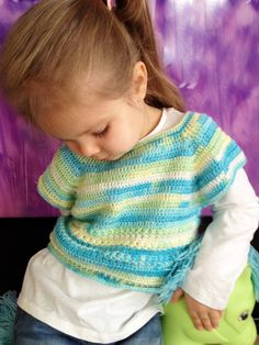 Crochet toddler vest/ Green blue yellow toddler crochet jacket/ Baby crochet vest/ Toddler sweater Bohemian baby vest/ Crochet crop top wool by ElenaVorobey on Etsy