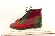 Vintage Color Block Leather Granny Boots