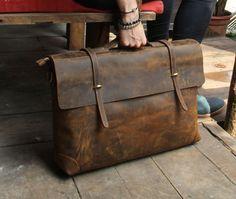 "Handmade Leather Briefcase / Leather Messenger Bag / 13"" 15"" MacBook 13"" 14"" Laptop Bag S21-1"