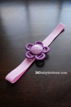 Handmade Girls Purple & White Button #FlowerHeadband by #DCbabybuttons #adorableforeaster #buttonart