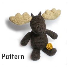 Knitted Moose with a Marigold