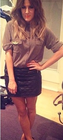 c10dfe4c37774c Caroline Flack - Quilted leather skirt Caroline Flack, Quilted Leather,  Leather Skirt, Tv