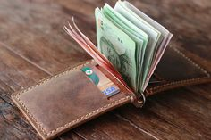 Leather Money Clip Wallet --- Distressed Leather Wallets for Men / 018 - Women's Wallets on Etsy, $32.00