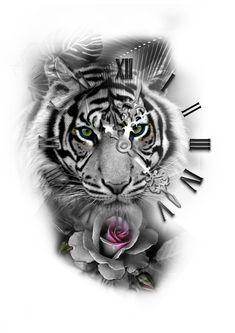 tiger with roman clock rose tattoo design