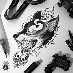 ideas for black wolf tattoo drawing Fox Tattoo, Snake Tattoo, Wolf Tattoos, Animal Tattoos, Life Tattoos, New Tattoos, Tattoo Sketches, Tattoo Drawings, Petit Tattoo