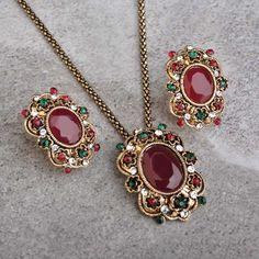Wholesale Flower Square Shaped Turkish Jewelry Sets For Women Vintage Crystal Acrylic Statement Necklace Earring Set Joyas
