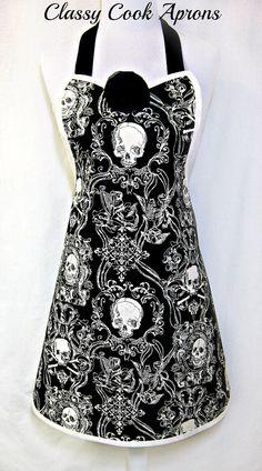 Apron SKULLDUGGERY in EBONY & IVORY, Elegant Goth, HALLOWEEN Hostess, by ClassyCookAprons, $38.50