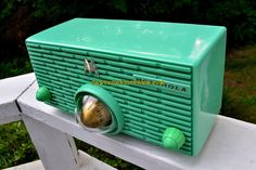 SEA GREEN Mid Century Retro Jetsons 1957 Motorola 57H Turbine Tube AM Radio Works Amazing! by RetroRadioFarm on Etsy https://www.etsy.com/listing/539790765/sea-green-mid-century-retro-jetsons-1957