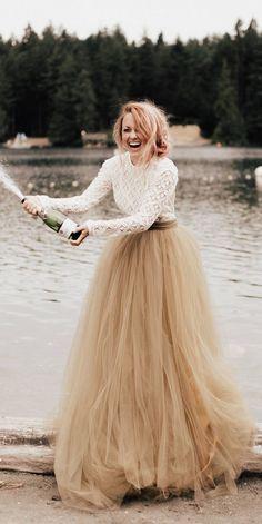 This is so pretty😍 Stevie Bodysuit - Wedding Separates - Boho Wedding Dress - Long Sleeve Lace Wedding Dress - Wedding Dress - Backless Wedding Dress Long Wedding Dresses, Wedding Gowns, Bridesmaid Dresses, Tulle Skirt Wedding Dress, Long Sleeve Wedding Dress Boho, Dress Long, Long Sleeve Lace Top, Relaxed Wedding Dress, Wedding Rehearsal Dress