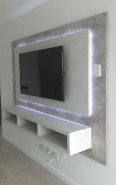 64 BEST TV WALL DESIGNS AND IDEAS - Page 46 of 64 The TV background wall mainly refers to the main wall in the living room and bedroom that reflects the decoration style. The position of the… Tv Wand Design, Tv Shelf Design, Tv Cabinet Design Modern, Tv Cabinet Wall Design, Modern Design, Tv Wanddekor, Tv Wall Cabinets, Wall Mount Tv Cabinet, Tv Wall Mount