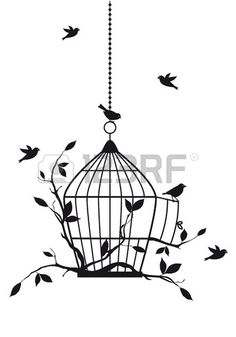 Illustration of free birds with open birdcage, vector background vector art, clipart and stock vectors. Hanging Bird Cage, Bird Cages, Bird Outline, Image Deco, Art Et Illustration, Bird Drawings, Vector Background, Free Vector Art, Doodle Art