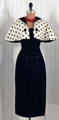1950s vintage Pauline Trigere wiggle dress with black and white polka-dot  capelet.  ✤