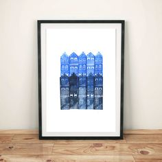 Little Blue City Hand Pressed Linocut