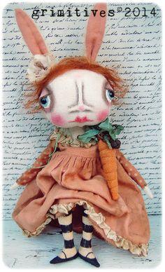 Primitive Original Art Doll Bunny Rabbit Doll by GRIMITIVES.   www.etsy.com/shop/GRIMITIVES