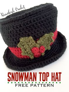 Crochet Beanie Design Snowman Top Hat {FREE PATTERN} - This post includes a free Christmas Holly Crochet Pattern and Photo Tutorial. I had a request for a quick photo tutorial to help with the Holly Leaves used in my Festive Cup Cozy Pattern.I dec. Crochet Snowman, Crochet Christmas Decorations, Crochet Christmas Ornaments, Christmas Crochet Patterns, Snowman Hat, Snowmen, Christmas Crafts, Christmas Snowman, Christmas Stockings