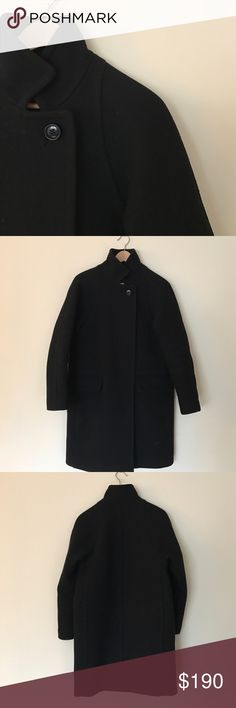 J. Crew Stadium Cloth Cocoon Wool Coat J. Crew thick wool coat in great condition. This coat in black will go with literally everything in your closet. No damage at all. Features two pockets in the front and high collar for those windy evenings. Copper zippers. Fits sizes XS-S. Last photo is just for reference for you to see how the coat looks on a mannequin. J. Crew Jackets & Coats