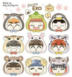 Cartoon Drawings Of Animals, Kawaii Drawings, Easy Drawings, Exo Cartoon, Cartoon Art, Exo Stickers, Baekhyun, Exo Anime, Planners