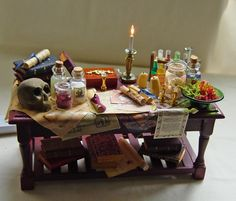 Epic    Dolls house Miniature Electric Lit Filled Large Wizard / Witch / Doctor / Apothecary Table. £45.00, via Etsy.
