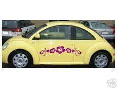 VW beetle smartcar Eyelashes /& 12 HUB CAP FLOWERS yellow  tire wheel BONUS offer