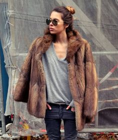 Fab winter style with brown fur coat. #fur #winterstyle