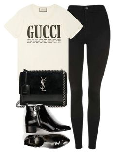 """Untitled #7171"" by laurenmboot ❤ liked on Polyvore featuring Topshop, Gucci, Yves Saint Laurent and Dolce Vita"