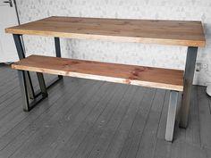 Brinkley Plank U Frame Rough Industrial Reclaimed Sawn Wood Dining Table Metal Various Size Stripped Pine