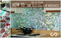 Mosaic Kitchen Backsplash from old CDs or DVDs