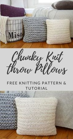Chunky Throw Pillow Set - Free Instructions - Knitting is as easy as . , Chunky Throw Pillow Set - Free Instructions - Knitting is as easy as . Easy Knitting Projects, Easy Knitting Patterns, Yarn Projects, Knitting For Beginners, Loom Knitting, Knitting Stitches, Free Knitting, Diy Jumbo Knitting Needles, Knitting And Crocheting