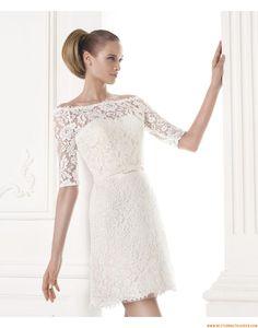 2015 A-linie Kurze Liebste Brautkleider aus Spitze mit Ärmel