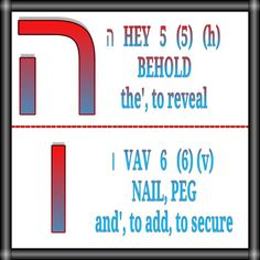ה   HEY   5   (5)   (h) BEHOLD the', to reveal   ו   VAV   6   (6) (v) NAIL, PEG and', to add, to secure