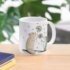 'Playing with Dandelions' Mug by PounceBoxArt Framed Prints, Canvas Prints, Art Prints, Cute Mugs, Dandelions, Mug Designs, Floor Pillows, Art Boards, Dandelion