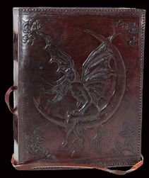 FAERIE MOON LEATHER Blank BOOK of SHADOWS - Cat and Cauldron