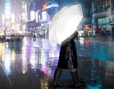 This innovative umbrella has a canopy crafted from a brightly reflective material that allows passing cars and others to better see you when their headlights and streetlights reflect off of it.