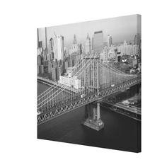 Manhattan Bridge Black and White Photograph Canvas Print