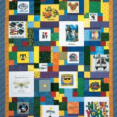 "If your t-shirt collection is overflowing with scraps of all shapes and sizes, this t-shirt quilt pattern is just for you. This lap size quilt pattern includes a number of different 12"" block designs which vary by what size t-shirt patch they showcase."