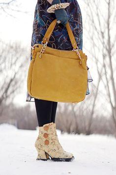 Winnipeg Canadian Fashion Consultant stylist blog, Anthropologie Moulinette Soeurs butterfly skirt, Danier leather mustard leather handbag, John Fluevog Stop It Halt ankle boot sample sale yellow floral