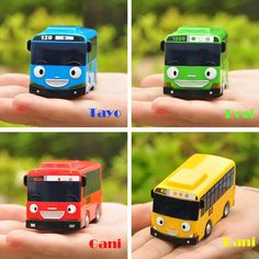 Little Bus TAYO mini special Edition set 4 pcs / Tayo Rogi Gani Rani / Korean TV animation character. Able to connect each other - there is connecting part on the back of the mini bus. Mini Size - Able to bring them out.